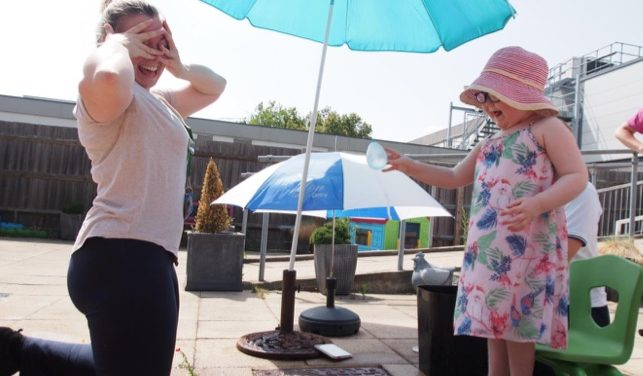 Basildon Hospital staff sacrifice lunch break to be water balloon target for young physio patient