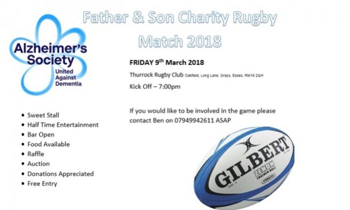 Charity Father and Son Rugby match for Alzheimers set for Thurrock Rugby Club