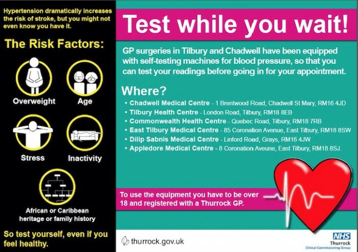 New pilot allows some Thurrock residents to test blood pressure while at GP surgery