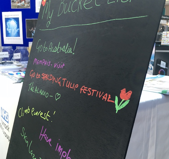 Bucket Lists at Grays Shopping Centre as part of Dying Matters Week