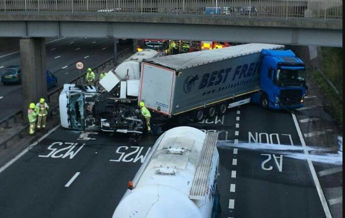 Tuesday traffic and travel:Lorries collide on Dartford Crossing