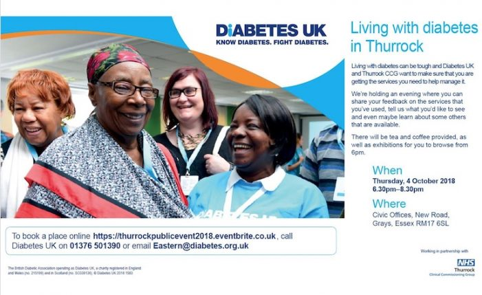 Free evening event in Thurrock for people with diabetes