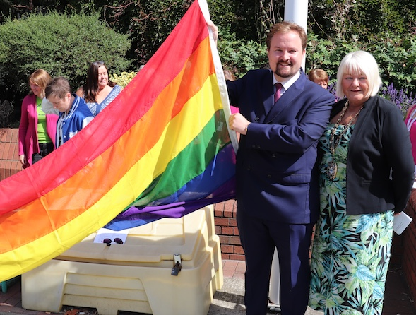Rainbow flag flies high outside Thurrock Council offices