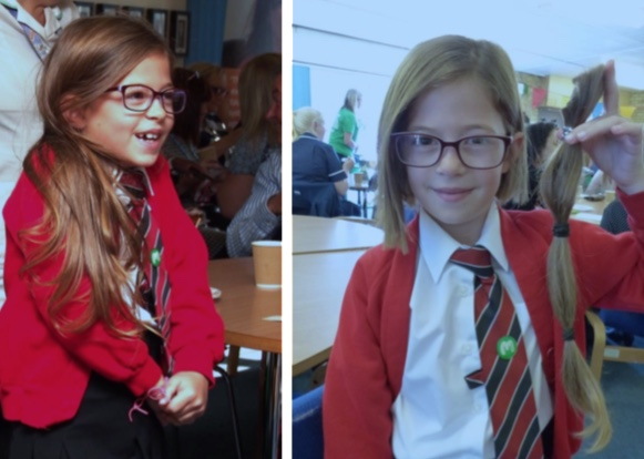 Brave Felicity has long ponytail cut off for charity