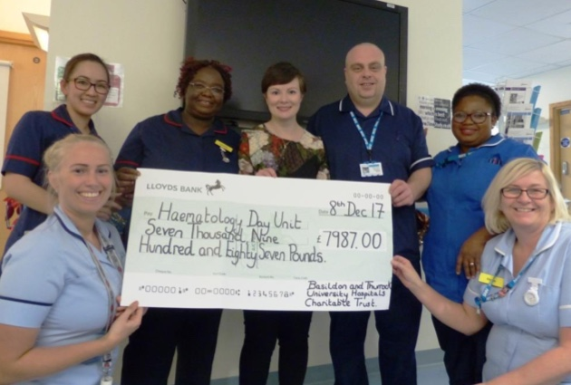 Former patient at Basildon hospital raises funds for Haematology unit
