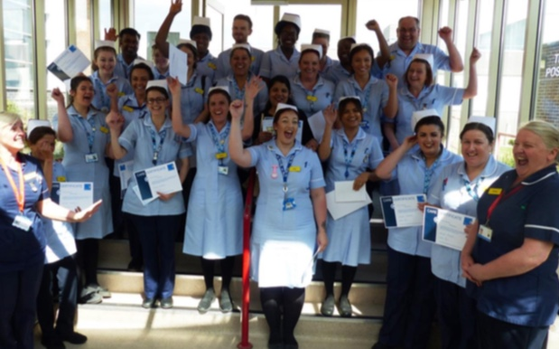 Healthcare assistants celebrate at Basildon Hospital