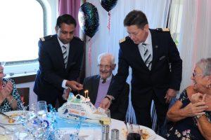 Maritime Len len lets steam for his 100th birthday on board cmv s columbus in