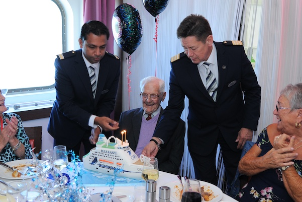 Len lets off steam for his 100th birthday on board CMV's Columbus in Tilbury