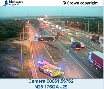Wednesday Traffic and Travel: Overturned lorry on M25