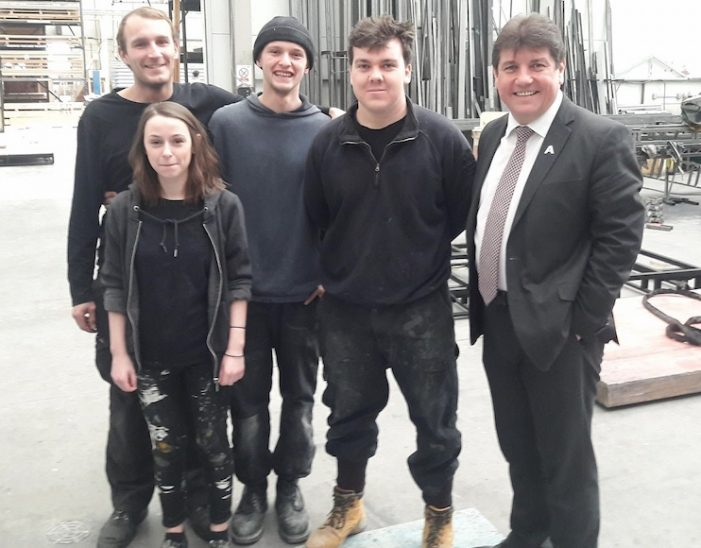 MP Stephen Metcalfe visits apprentices at Royal Opera House in Purfleet