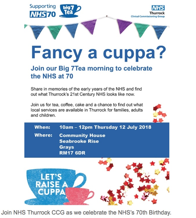 Join NHS Thurrock CCG as  they celebrate the NHS's 70th Birthday.