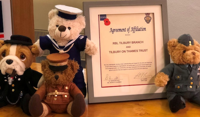Royal British Legion present certificate to Tilbury-on-Thames Trust