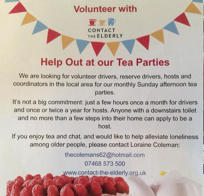 Contact the Elderly are looking for volunteers