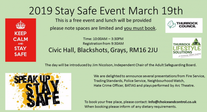 Thurrock Lifestyle Solutions to host Stay Safe event