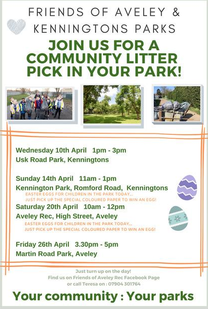 Friends of Aveley and Kenningtons Parks litter pick