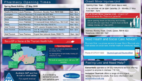 Thurrock Health Services over Bank Holiday Weekend
