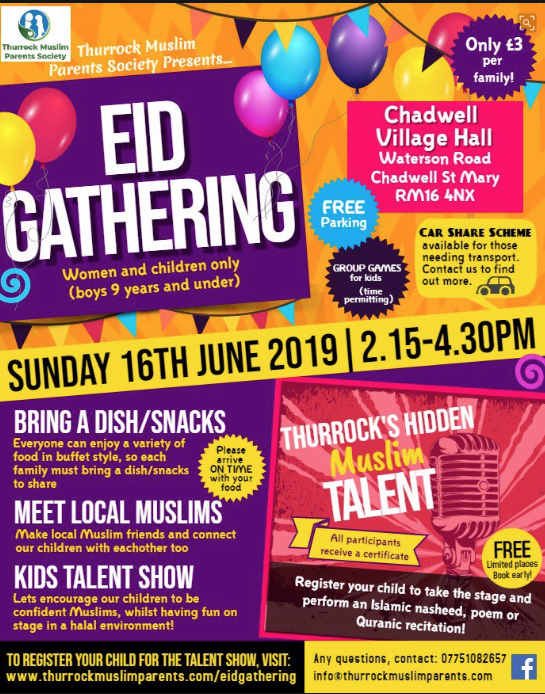 Thurrock Muslim Society to host Eid Festival in Chadwell St Mary