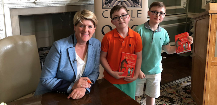 Budding writing brothers meet Clare Balding after making final of writing competition