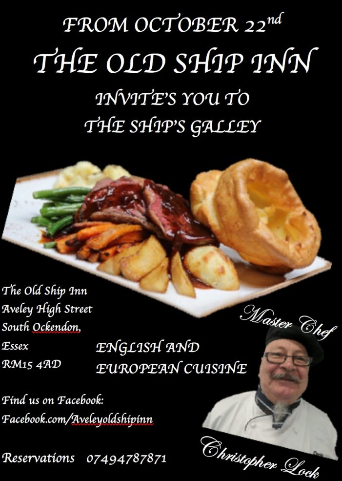 Great food coming to the Old Ship Inn in Aveley