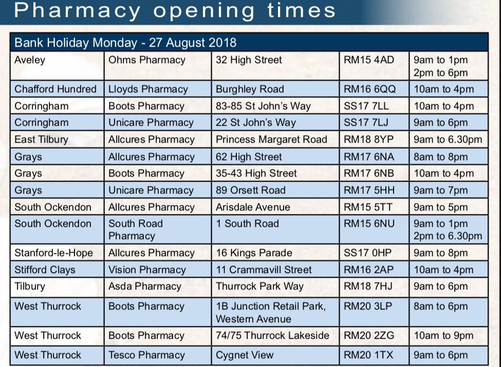 1b7d7c6f107 Pharmacy opening times over Bank Holiday weekend - Your Thurrock