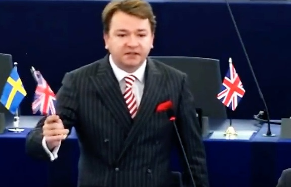 "Ukip MEP Tim Aker celebrates 'E-Day"" as Article 50 is triggered"
