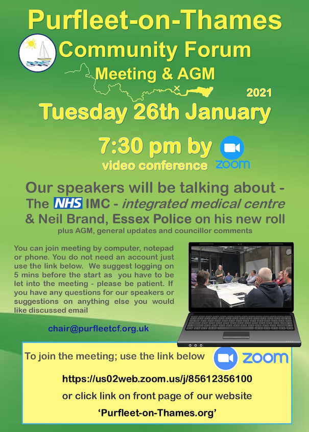 Purfleet on Thames to host AGM on zoom
