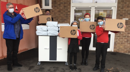 Riverside Community Big Local deliver 20 new Chromebooks to Thameside Primary school.