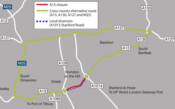 Avoid the A13 this weekend ahead of closure