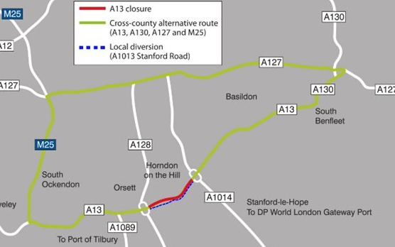 A13 to be closed for bridge demolition