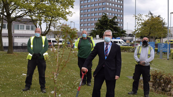Triple tree planting at local hospitals in honour of Captain Sir Tom