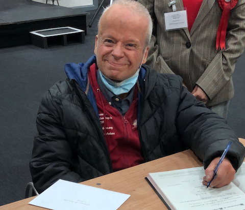 Re-elected Councillor Tony Fish thanks his residents in Grays Riverside