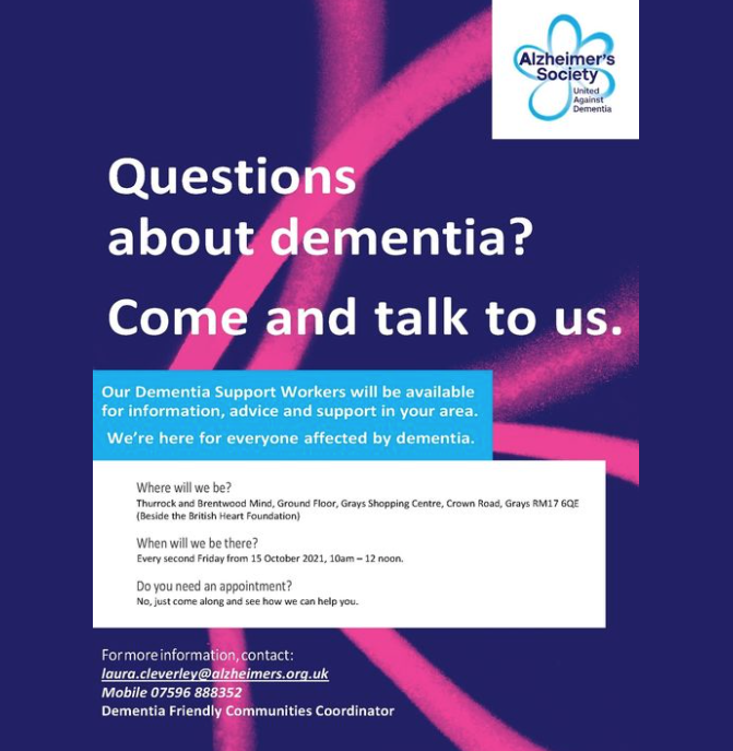 The Alzheimer's Society set to hold drop ins in Grays