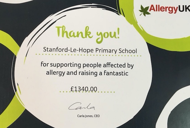 Stanford Primary pupils raise funds for Allergy Awareness
