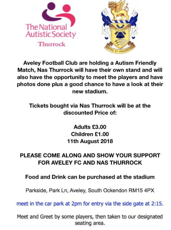 Autism Friendly event at Aveley FC