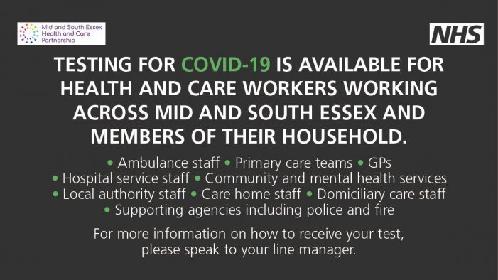 COVID-19 testing available for Thurrock's health and care workers and members of their households at three locations