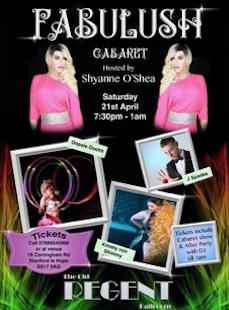 Fabulush Cabaret set for the Old Regent Ballroom