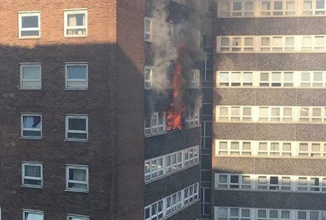 Fire in high rise flat in Chadwell St Mary