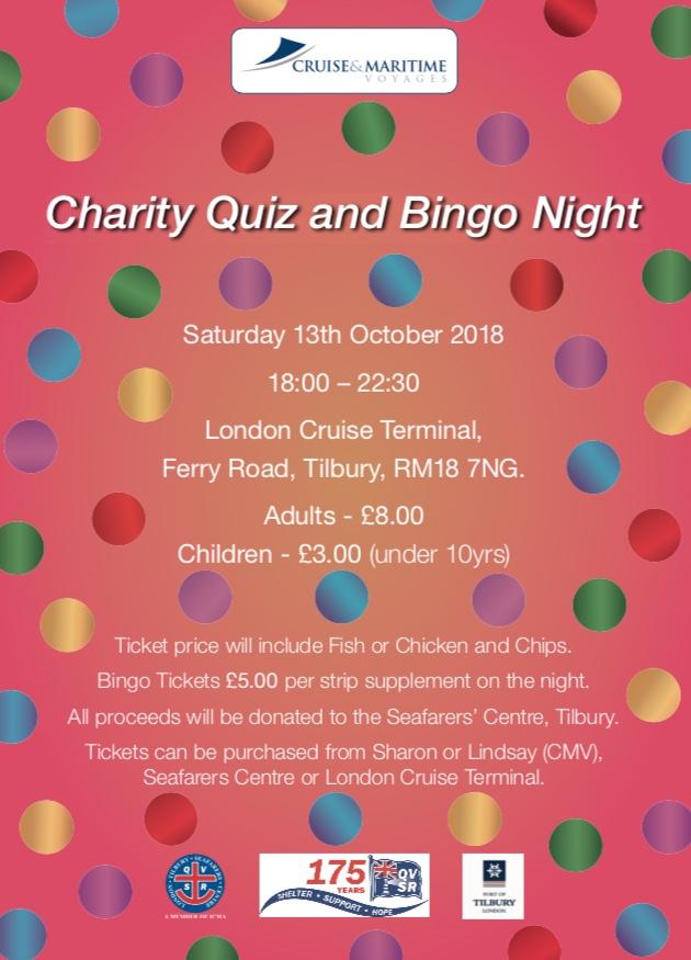 Charity Quiz and Bingo Night at Tilbury Cruise Terminal