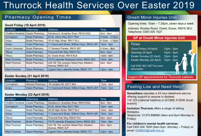 Your health service is here for you this Easter in Thurrock