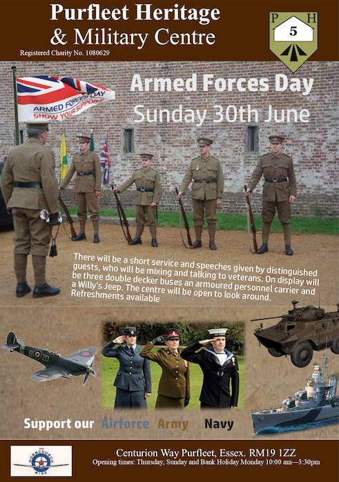 Purfleet Heritage Centre to host Armed Forces Day