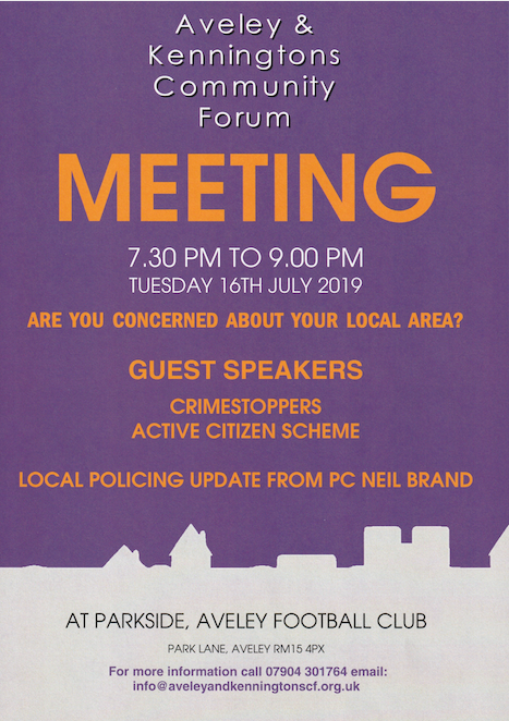 Aveley and Kenningtons Community Forum set date for next meeting