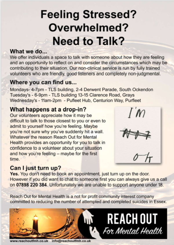 Reach Out for Mental Health offer more time and places to talk