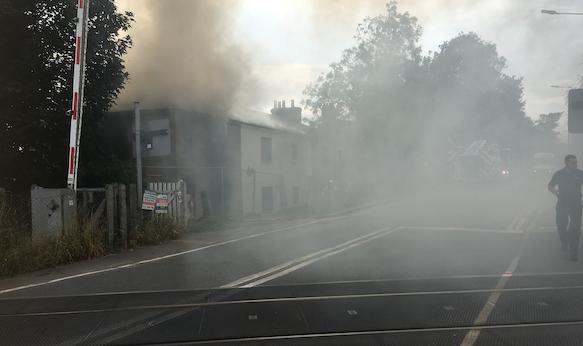Fire on London Road in Purfleet