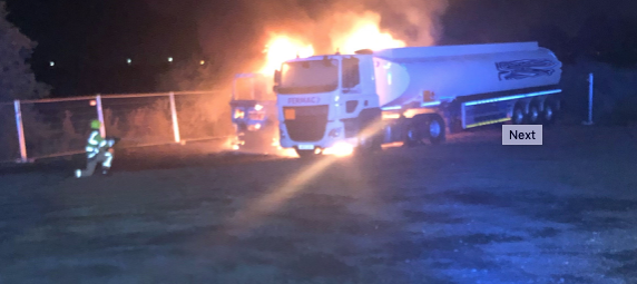 Two petrol tankers alight in Horndon-on-the-Hill
