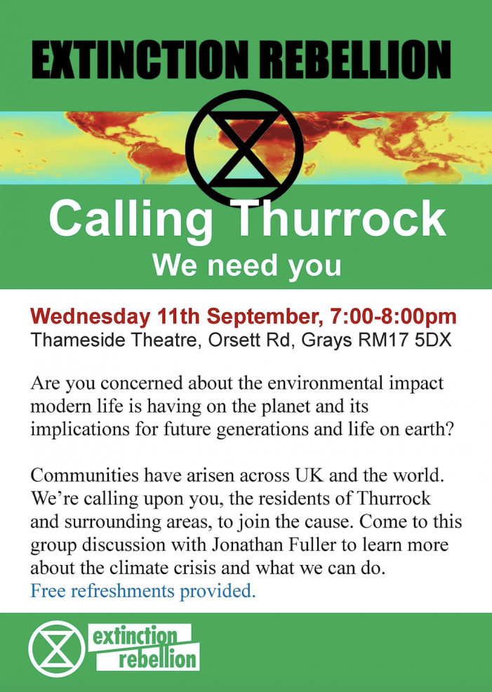 Thurrock Extinction Rebellion to hold meeting at Thameside Theatre