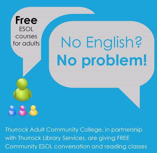 Free Community ESOL conversation and reading classes at Grays Library