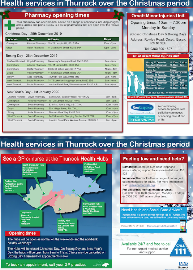 Thurrock's health service is here for you this Christmas and New Year