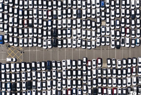 Thousands of cars waiting to be shipped from Tilbury