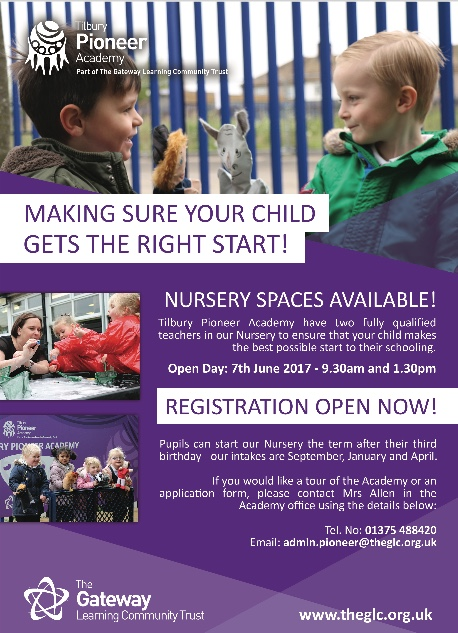 Tilbury Pioneer Academy: Nursery Spaces Available