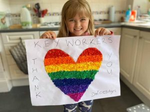 Darcey, age 5, and her rainbow heart for key workers